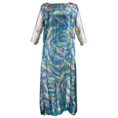 20s Blue Paisley Deco Lame Dress with Lace Trim