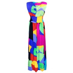 80s Arnold Scaasi Abstract Rainbow Gown