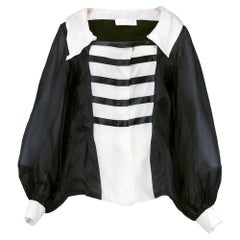 80s Jacques Fath Dramatic  Organza Black and White Blouse