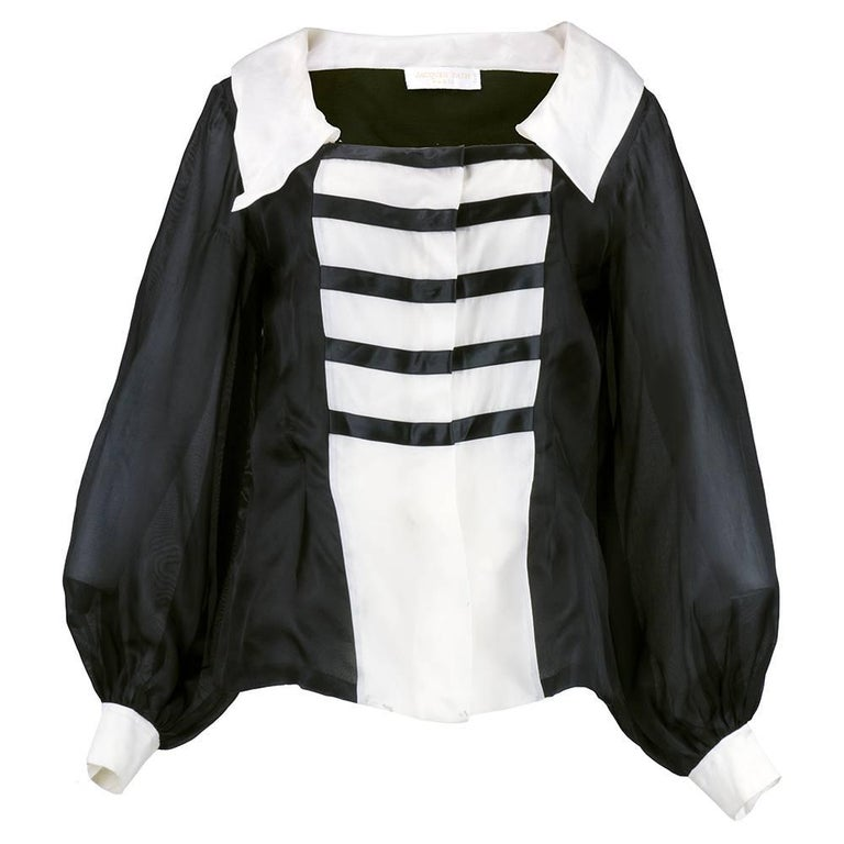 80s Jacques Fath Dramatic  Organza Black and White Blouse  1