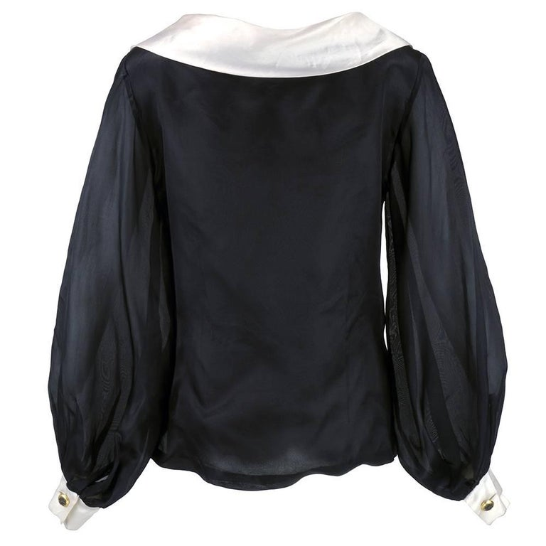 80s Jacques Fath Dramatic  Organza Black and White Blouse  2