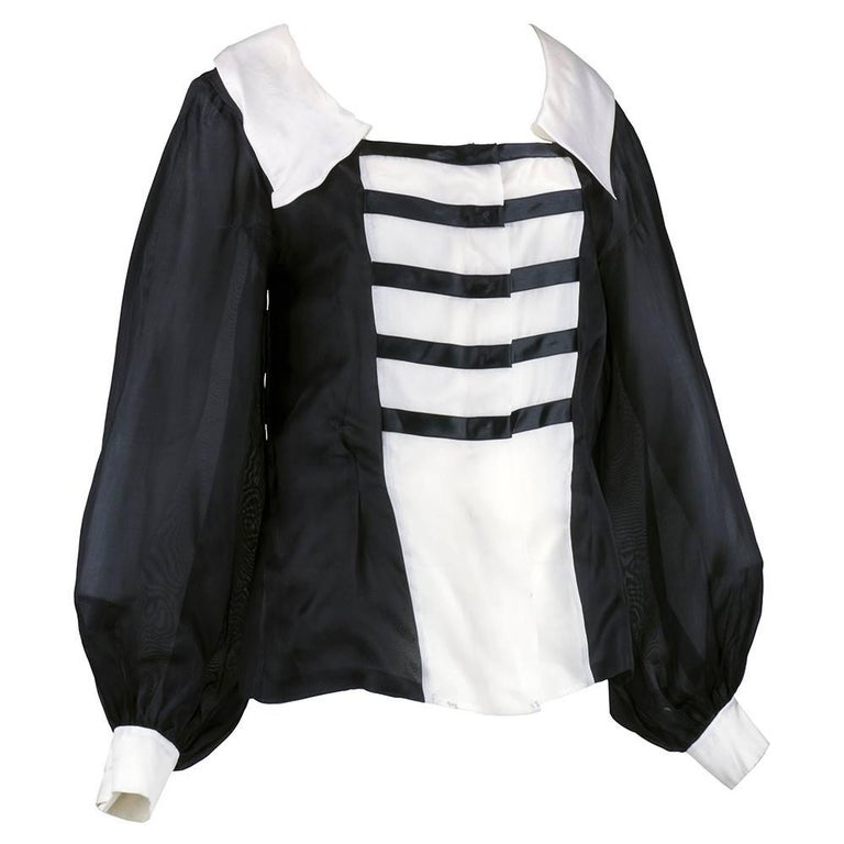 80s Jacques Fath Dramatic  Organza Black and White Blouse  3