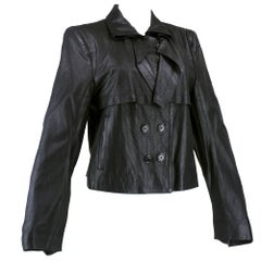 90s Ann Demeulemeester Black Double Breasted Leather Jacket