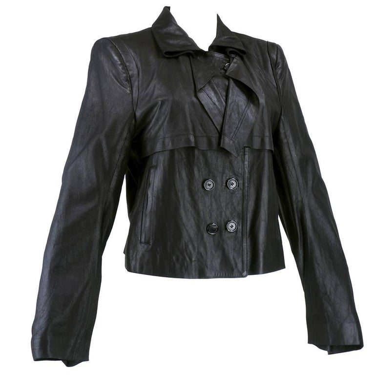 90s Ann Demeulemeester Black Double Breasted Leather Jacket For Sale