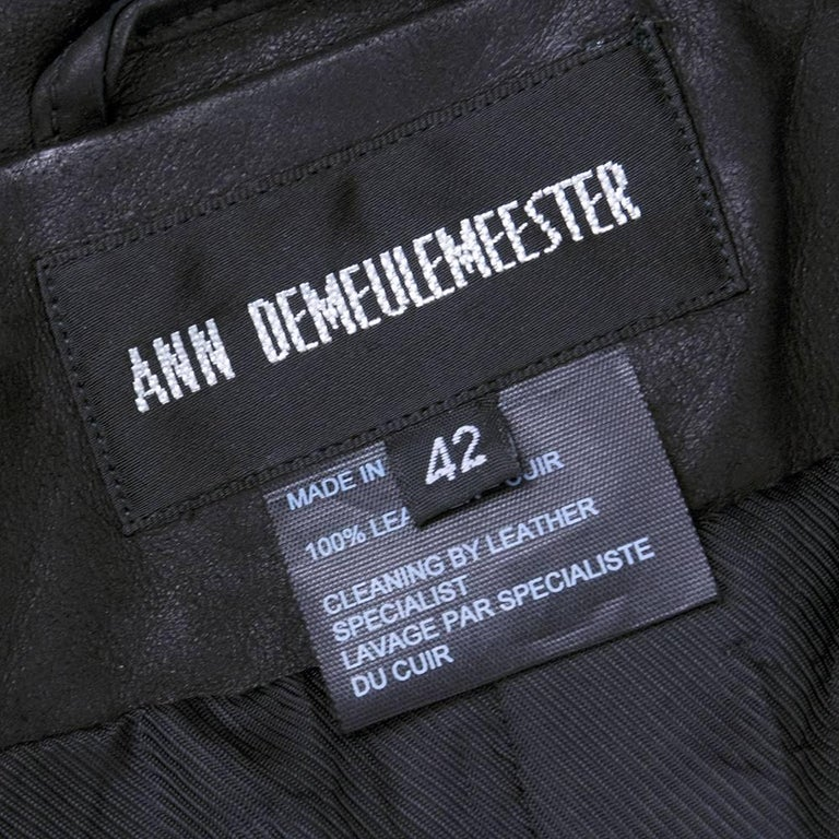 90s Ann Demeulemeester Black Double Breasted Leather Jacket For Sale 1