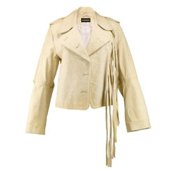 90s Ann Demeulemeester Ivory Leather Jacket with Long Ties