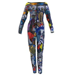 1992s Iconic Versace Atelier Beaded Chagall Catsuit