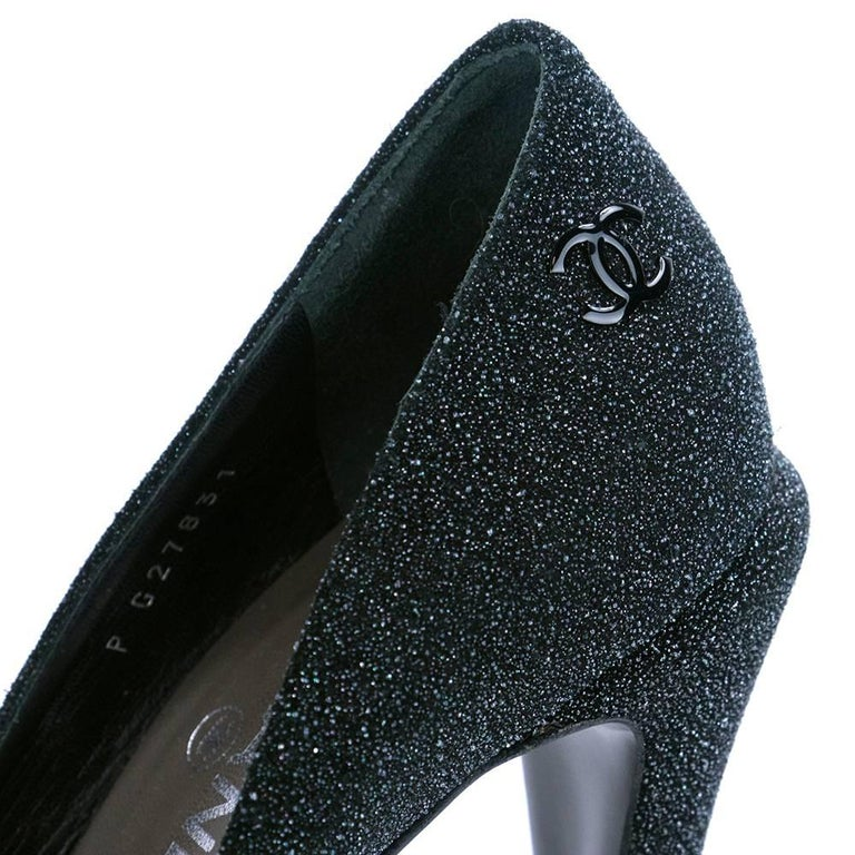 Women's Contemporary Chanel Platform Two Tone Glitter Blasted Pumps For Sale