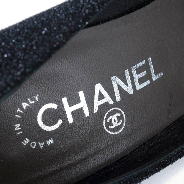 Contemporary Chanel Platform Two Tone Glitter Blasted Pumps For Sale 1