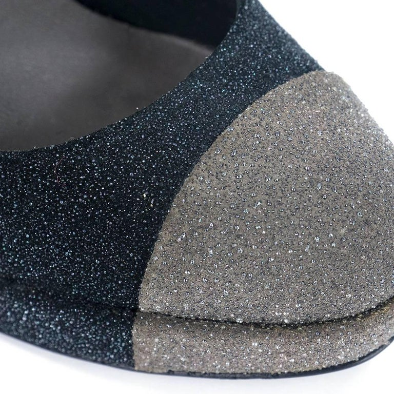 Contemporary Chanel Platform Two Tone Glitter Blasted Pumps For Sale 2