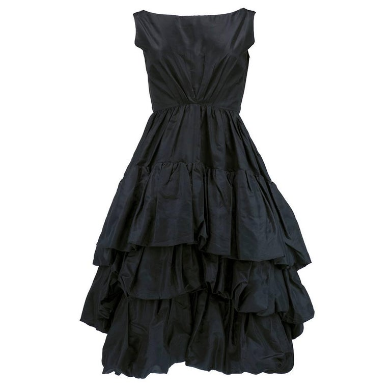 Museum Quality YSL for Dior Black Silk Taffeta tiered Bubble Skirted Dress 1