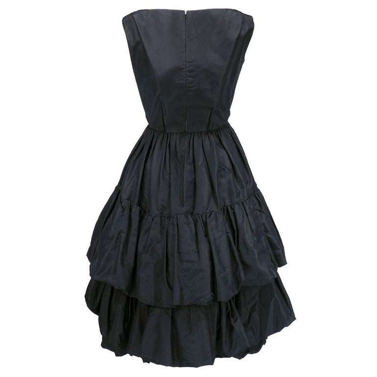 Museum Quality YSL for Dior Black Silk Taffeta tiered Bubble Skirted Dress 2