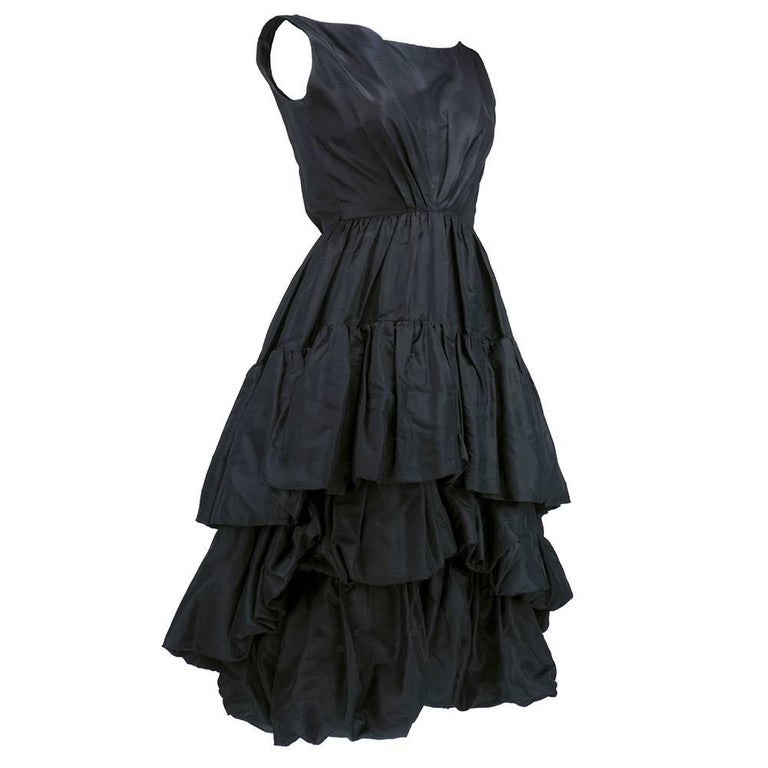 Museum Quality YSL for Dior Black Silk Taffeta tiered Bubble Skirted Dress 3
