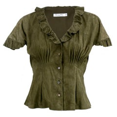 Christian Dior Olive Green Butter Soft Lambskin Blouse