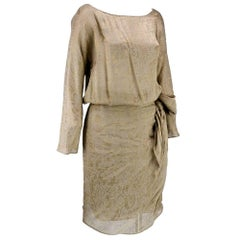 90s Iconic Donna Karan Gold Lame Wrap Dress