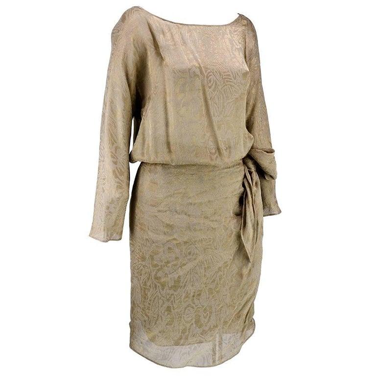 90s Iconic Donna Karan Gold Lame Wrap Dress 1