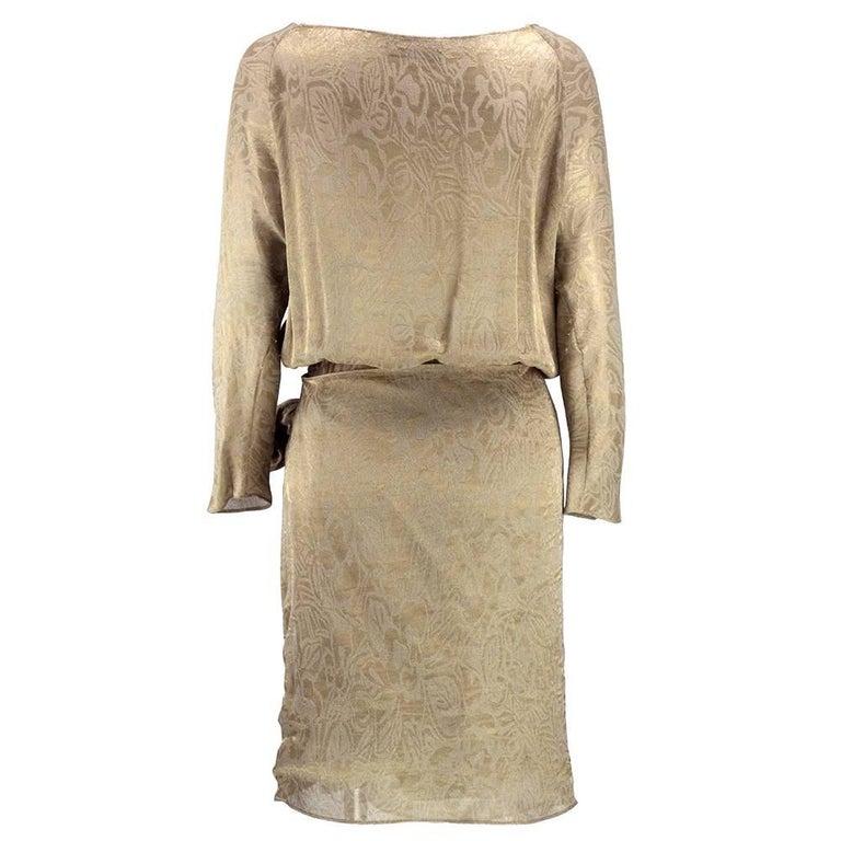 90s Iconic Donna Karan Gold Lame Wrap Dress 2
