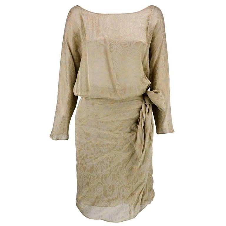 90s Iconic Donna Karan Gold Lame Wrap Dress 3
