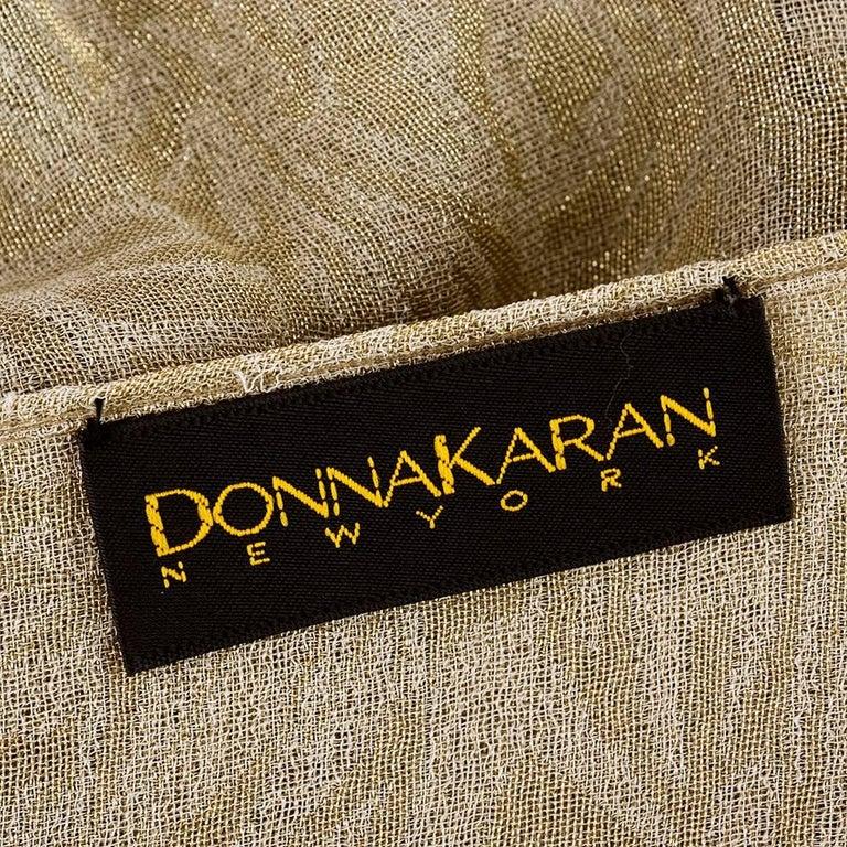 90s Iconic Donna Karan Gold Lame Wrap Dress 4