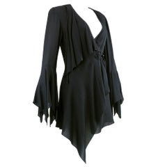80s Emanuel Ungaro Black Crepe Stevie Nicks Style Jacket
