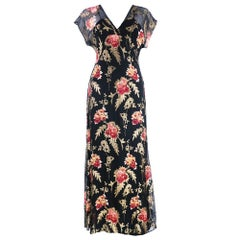 30s Black Silk Chiffon and Lame Floral Gown with 9 inch Train