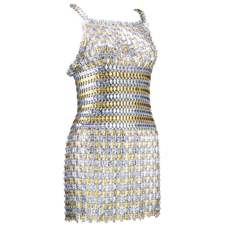 60s Paco Rabanne Metal Gladiator Mini Dress 1