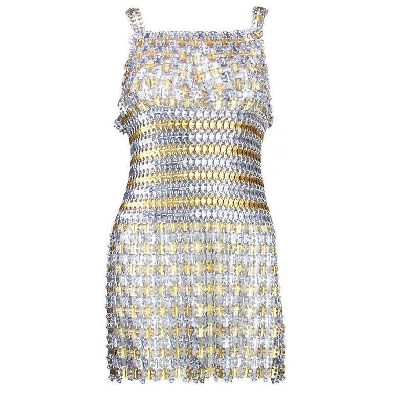 60s Paco Rabanne Metal Gladiator Mini Dress 2