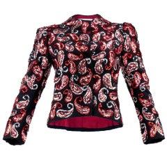 80s Scaasi Black Paisley Sequin Evening Jacket