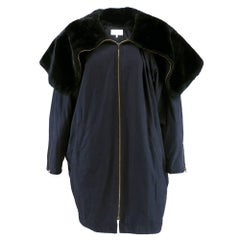 90s Byblos Black Parka with Oversized Faux Fur Collar