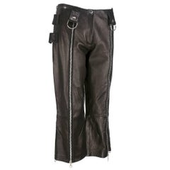 Dolce and Gabbana Black Leather Cropped Biker/Punk Rock Pants