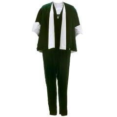50s Giovannelli Sciarra Couture Green Velvet Evening Jumpsuit Ensemble