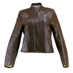 90s Givenchy Tailored Brown Textured Leather Jacket