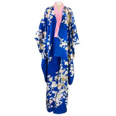 1930s Stunning Blue Jacquard Hand Painted Kimono with Metallic Embroidery