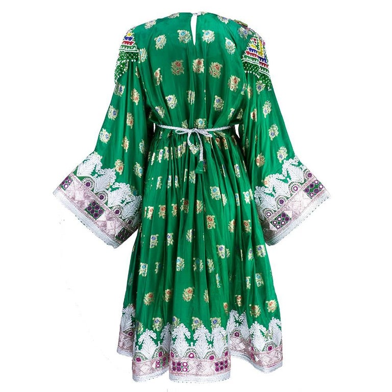 Traditional Afghani Dress In Emerald Green with  Intricate Beadwork 3