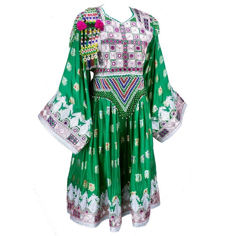 Traditional Afghani Dress In Emerald Green with  Intricate Beadwork 2