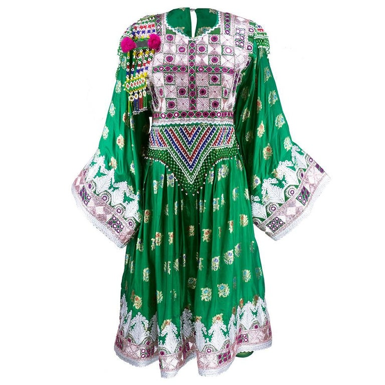 Traditional Afghani Dress In Emerald Green with  Intricate Beadwork 1