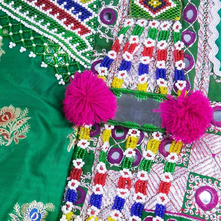 Traditional Afghani Dress In Emerald Green with  Intricate Beadwork 5