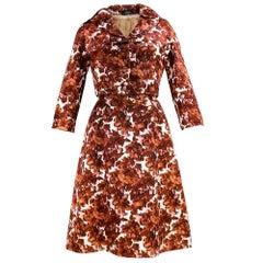 50s/60s Sophie of Saks Brown Warped Floral Afternoon Dress w/Mink Lined Jacket