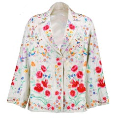 20s Chinese White Silk Floral  Embroidered Jacket