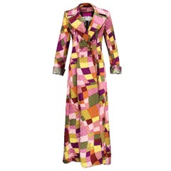 90s Christian Lacroix Quilted Faux Patchwork Pattern Satin Maxi Coat