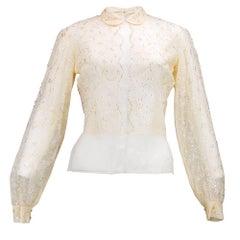 30s Couture Viallard Ivory Chiffon and Lace Blouse