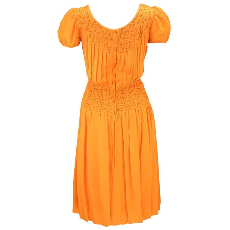 70s Christian Dior-New York Orange Silk Peasant Dress  In Excellent Condition For Sale In Los Angeles, CA