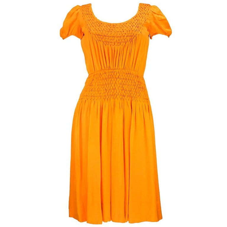 70s Christian Dior-New York Orange Silk Peasant Dress  For Sale
