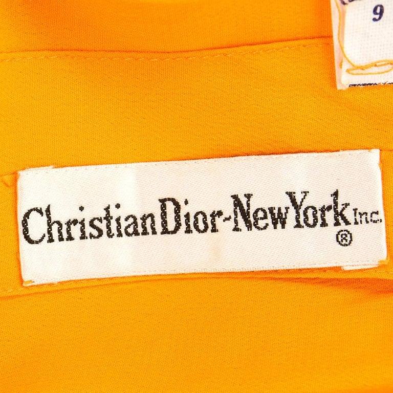 Women's 70s Christian Dior-New York Orange Silk Peasant Dress  For Sale