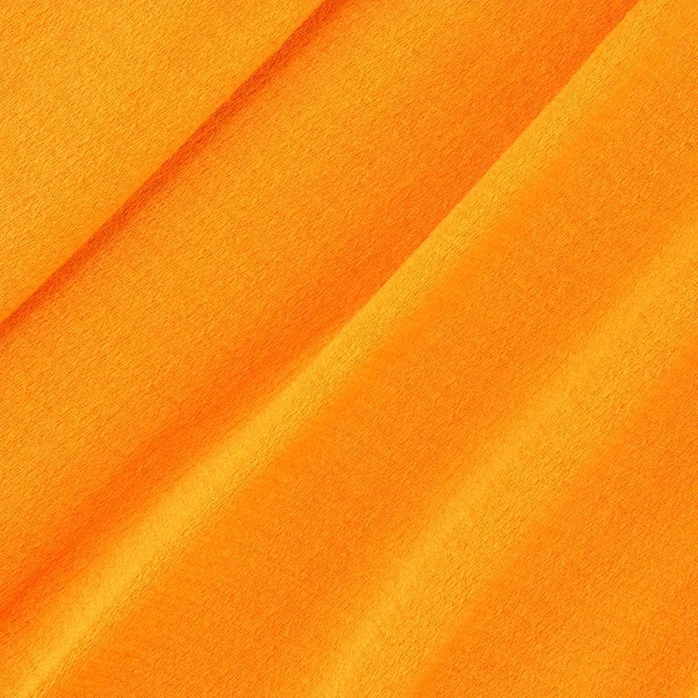 70s Christian Dior-New York Orange Silk Peasant Dress  For Sale 2