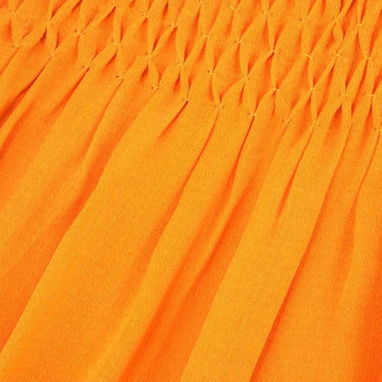 70s Christian Dior-New York Orange Silk Peasant Dress  For Sale 1