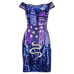 90s Diane Freis Vibrant Sequin Body Con Cocktail Dress
