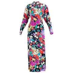 70s Pauline Trigere Black Rainbow Floral Gown with Silver Paillletes