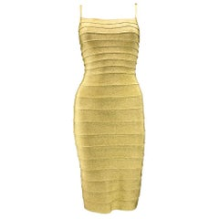 1990s Herve Leger Classic Couture Gold Bandage Dress