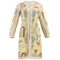 90s Moschino Lightweight Nude Floral Print Coat